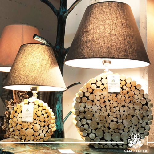 Lamps Round teak wood from Bali at Gaia Center | Cyprus.