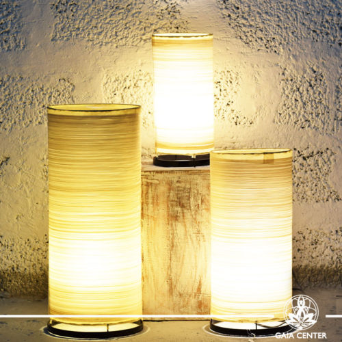 Lamps set textile cream color from Bali at Gaia Center | Cyprus.