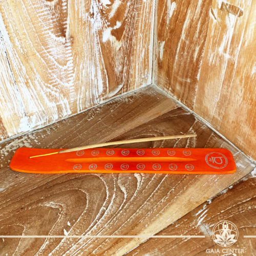 Incense Holder or Ash Catcher for incense sticks. Made from wood with artistic chakra colors design. Incense burners selection at Gaia Center   Cyprus.