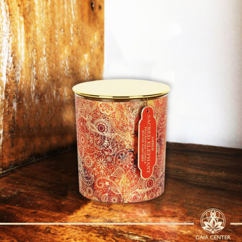 Fragrant Candle Amber in a glass jar | Aroma and Scented candles selection at Gaia Center | Cyprus.