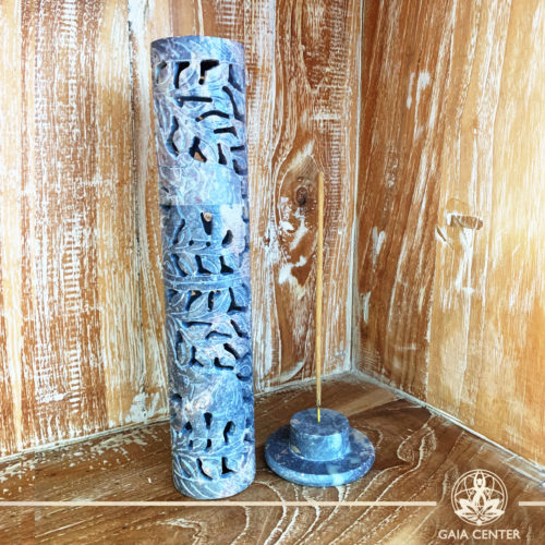 Incense Holder or Ash Catcher for incense sticks. Made from Soap Stone with an artistic carved design. Incense burners selection at Gaia Center | Cyprus.
