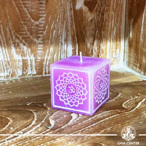 Candle Crown Chakra Meditation Purple color. Natural and Scented, Aroma Candles selection at Gaia Center | Cyprus.