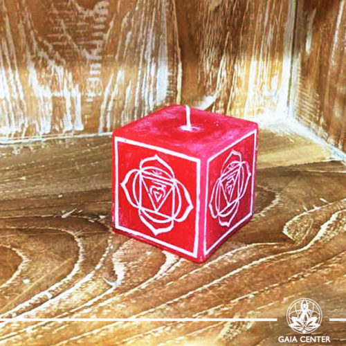 Candle Root Chakra Meditation Red color. Natural and Scented, Aroma Candles selection at Gaia Center | Cyprus.