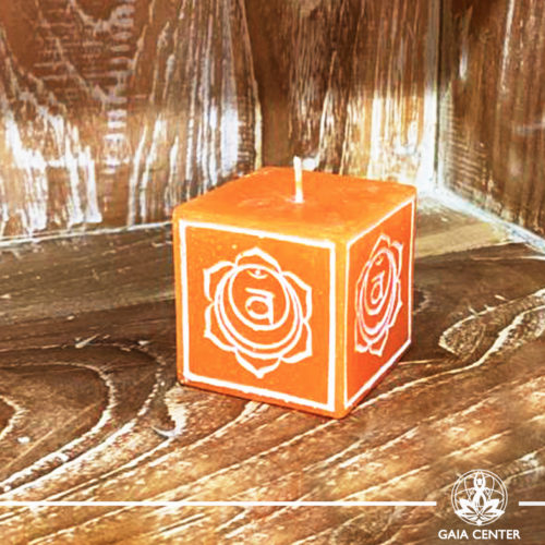 Candle Sacral Chakra Meditation Orange color. Natural and Scented, Aroma Candles selection at Gaia Center | Cyprus.