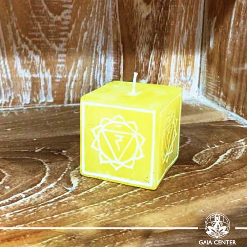 Candle Solar Plexus Chakra Meditation Yellow color. Natural and Scented, Aroma Candles selection at Gaia Center | Cyprus.