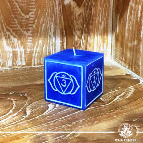 Candle Third Eye Chakra Meditation Indigo color. Natural and Scented, Aroma Candles selection at Gaia Center | Cyprus.