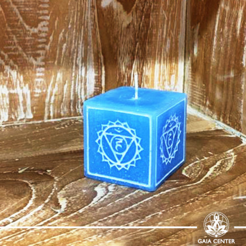 Candle Throat Chakra Meditation Blue color. Natural and Scented, Aroma Candles selection at Gaia Center | Cyprus.