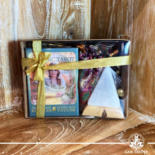 Gifts Sets ideas for Christmas. Spiritual gifts. Set includes Akashic Tarot deck, Himalayan Salt Lamp pyramid led lamp and textile pouch. Shop online at Gaia Center | Cyprus: https://www.gaia-center.com We deliver all over Cyprus and Worldwide shipping.