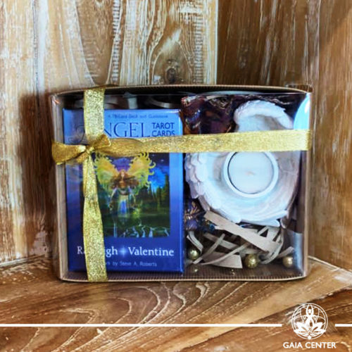 Gifts Sets ideas for Christmas. Spiritual gifts. Set includes Angel Tarot Cards deck, Angel Wings tea-light or candle holder. Shop online at Gaia Center | Cyprus: https://www.gaia-center.com We deliver all over Cyprus and Worldwide shipping.