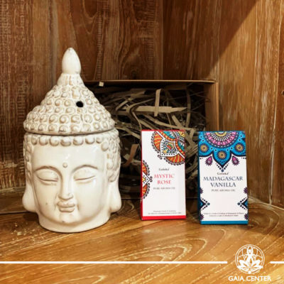 Gifts Sets ideas for Christmas. Spiritual gifts. Set includes Buddha head ceramic essential oil burner and two pure aroma oils. Shop online at Gaia Center | Cyprus: https://www.gaia-center.com We deliver all over Cyprus and Worldwide shipping.