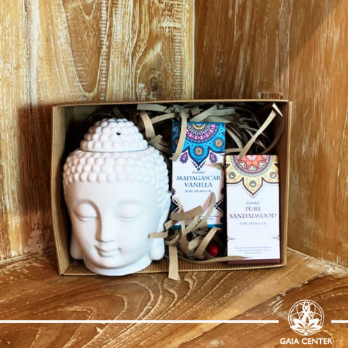 Gifts Sets ideas for Christmas. Spiritual gifts. Set includes Buddha head ceramic essential oil burner and two pure aroma oils. Shop online at Gaia Center   Cyprus: https://www.gaia-center.com We deliver all over Cyprus and Worldwide shipping.