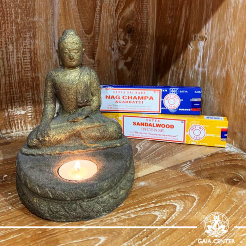 Gifts Sets ideas for Christmas. Spiritual gifts. Set includes Buddha meditating tea-light   candle holder and two packs of Satya Incense sticks Sandalwood and Nag Champa. Shop online at Gaia Center   Cyprus: https://www.gaia-center.com We deliver all over Cyprus and Worldwide shipping.