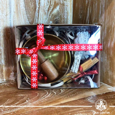 Gifts Sets ideas for Christmas. Spiritual gifts. Set includes Tibetan Singing Bowl with a wooden stick, Californian White Sage smudge stick bundle and two Palo Santo wood sticks. Shop online at Gaia Center | Cyprus: https://www.gaia-center.com We deliver all over Cyprus and Worldwide shipping.