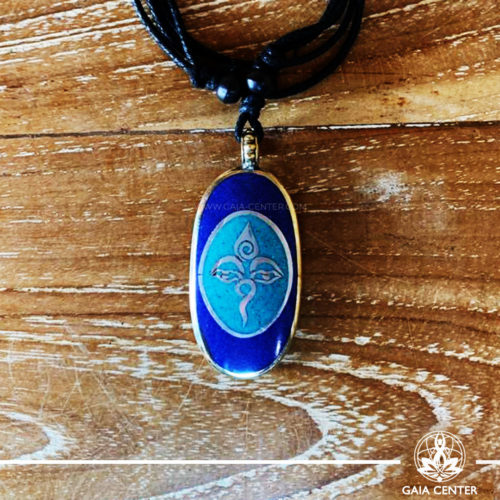 Tibetan Pendant Buddha Eyes or Wisdom eyes. Lapis lazuli and turquoise. Adjustable black string. Selection of Tibetan Jewelry made of crystals, gemstones, combination of metals at Gaia Center | Cyprus.