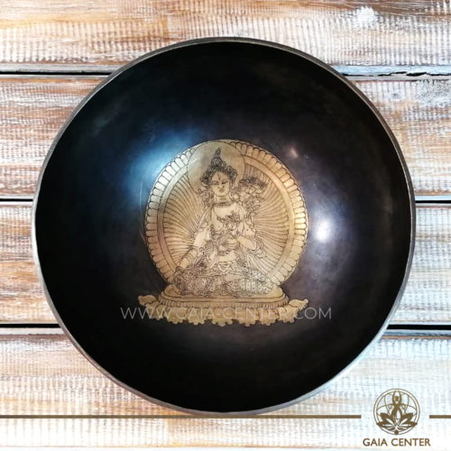 Sining Bowl metal for Sound Healing Therapy engraved mantra and Tara Goddess at GAIA CENTER | CYPRUS. Original from Nepal. Cyprus delivery to: Limassol, Paphos, Nicosia, Larnaca, Paralimni, Strovolos. Including provinces and small suburbs. Europe and International Worldwide shipping. Wholesale and Retail. Shop online for Singing Bowls: https://gaia-center.com