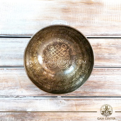 Tibetan Sining Bowl metal with engraved design auspicious buddhist the endless knot symbol and prayers /mantras for Sound Healing Therapy at GAIA CENTER | CYPRUS. Original from Nepal. Cyprus delivery to: Limassol, Paphos, Nicosia, Larnaca, Paralimni, Strovolos. Including provinces and small suburbs. Europe and International Worldwide shipping. Wholesale and Retail. Shop online for Singing Bowls: https://gaia-center.com