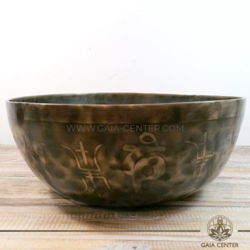 Tibetan Sining Bowl metal with engraved design auspicious buddhist symbols and prayers /mantras for Sound Healing Therapy at GAIA CENTER | CYPRUS. Original from Nepal. Cyprus delivery to: Limassol, Paphos, Nicosia, Larnaca, Paralimni, Strovolos. Including provinces and small suburbs. Europe and International Worldwide shipping. Wholesale and Retail. Shop online for Singing Bowls: https://gaia-center.com