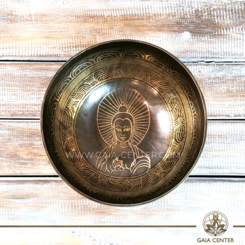 Tibetan Sining Bowl metal with engraved Buddha design with auspicious buddhist symbols and prayers /mantras for Sound Healing Therapy at GAIA CENTER | CYPRUS. Original from Nepal. Cyprus delivery to: Limassol, Paphos, Nicosia, Larnaca, Paralimni, Strovolos. Including provinces and small suburbs. Europe and International Worldwide shipping. Wholesale and Retail. Shop online for Singing Bowls: https://gaia-center.com