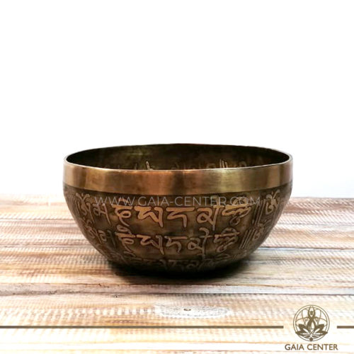 Tibetan Sining Bowl metal with engraved design auspicious buddhist symbols, Buddha and prayers /mantras for Sound Healing Therapy at GAIA CENTER   CYPRUS. Original top quality from Nepal. Cyprus delivery to: Limassol, Paphos, Nicosia, Larnaca, Paralimni, Strovolos. Including provinces and small suburbs. Europe and International Worldwide shipping. Wholesale and Retail. Shop online for Singing Bowls: https://gaia-center.com