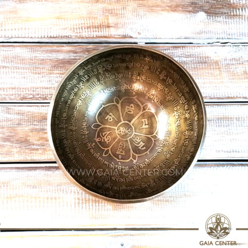 Tibetan Sining Bowl metal with engraved design auspicious buddhist symbols, Om symbol and prayers /mantras for Sound Healing Therapy at GAIA CENTER | CYPRUS. Original top quality from Nepal. Cyprus delivery to: Limassol, Paphos, Nicosia, Larnaca, Paralimni, Strovolos. Including provinces and small suburbs. Europe and International Worldwide shipping. Wholesale and Retail. Shop online for Singing Bowls: https://gaia-center.com
