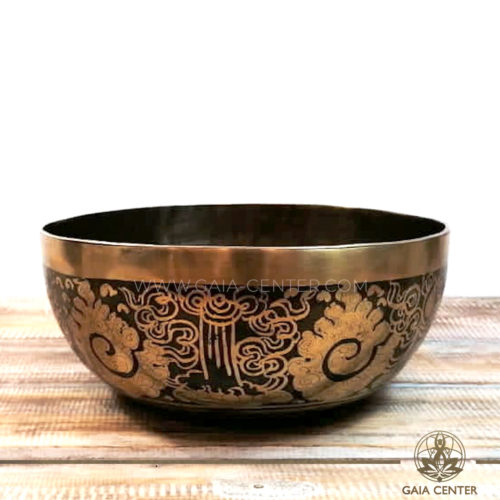 Tibetan Sining Bowl metal with engraved design auspicious buddhist symbols and prayers /mantras for Sound Healing Therapy at GAIA CENTER   CYPRUS. Original top quality from Nepal. Cyprus delivery to: Limassol, Paphos, Nicosia, Larnaca, Paralimni, Strovolos. Including provinces and small suburbs. Europe and International Worldwide shipping. Wholesale and Retail. Shop online for Singing Bowls: https://gaia-center.com