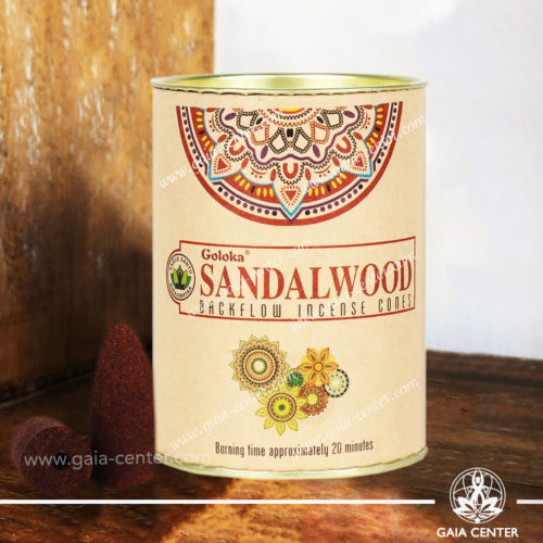 Backflow Incense Dhoop Cones Sandalwood pack by Goloka at Gaia Center | Cyprus.