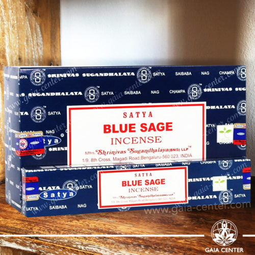 Incense Sticks pack 15g Blue Sage by Satya at Gaia Center | Cyprus. Selection of natural Incense sticks and Incense holders. Cyprus delivery to: Limassol, Paphos, Nicosia, Larnaca, Paralimni, Strovolos. Including provinces and small suburbs. Europe and International Worldwide shipping.