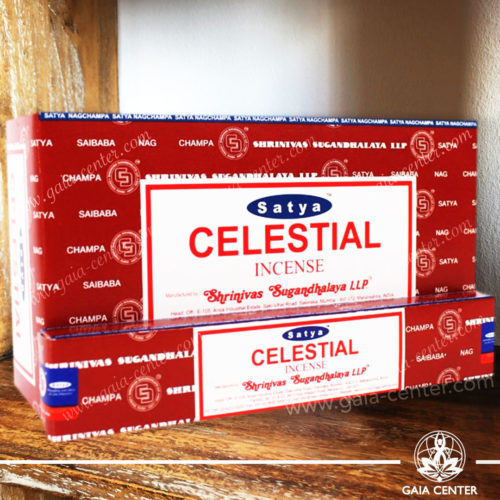 Incense Sticks pack 15g Celestial by Satya at Gaia Center | Cyprus. Selection of natural Incense sticks and Incense holders. Cyprus delivery to: Limassol, Paphos, Nicosia, Larnaca, Paralimni, Strovolos. Including provinces and small suburbs. Europe and International Worldwide shipping.