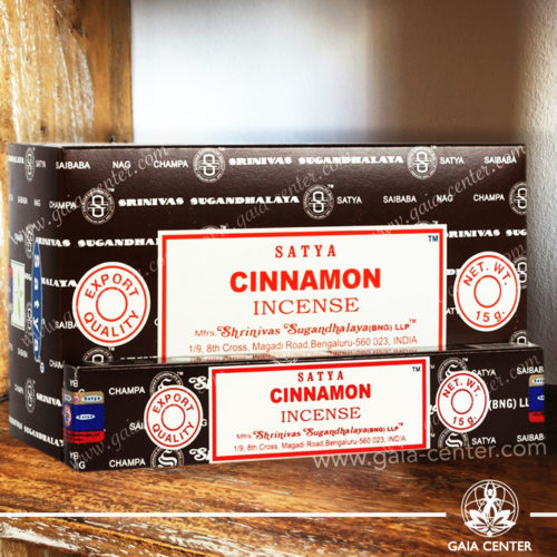 Incense Sticks pack 15g Cinnamon by Satya at Gaia Center | Cyprus. Selection of natural Incense sticks and Incense holders. Cyprus delivery to: Limassol, Paphos, Nicosia, Larnaca, Paralimni, Strovolos. Including provinces and small suburbs. Europe and International Worldwide shipping.