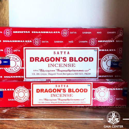 Incense Sticks pack 15g Dragon's Blood by Satya at Gaia Center | Cyprus. Selection of natural Incense sticks and Incense holders. Cyprus delivery to: Limassol, Paphos, Nicosia, Larnaca, Paralimni, Strovolos. Including provinces and small suburbs. Europe and International Worldwide shipping.