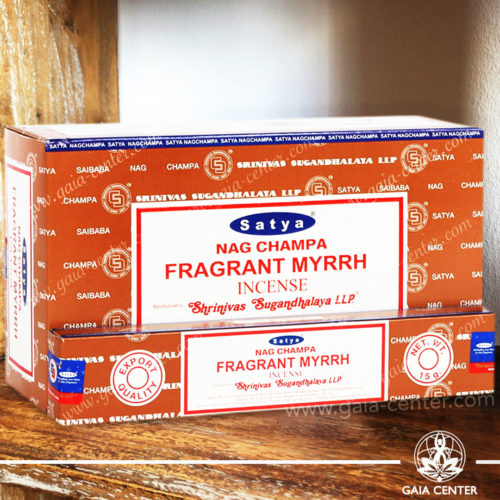 Incense Sticks pack 15g Fragrant Myrrh Nag Champa by Satya at Gaia Center | Cyprus. Selection of natural Incense sticks and Incense holders. Cyprus delivery to: Limassol, Paphos, Nicosia, Larnaca, Paralimni, Strovolos. Including provinces and small suburbs. Europe and International Worldwide shipping.