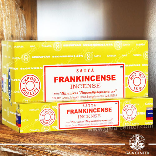 Incense Sticks pack 15g Frankincense by Satya at Gaia Center in Cyprus. Selection of natural Incense sticks and Incense holders. Cyprus delivery to: Limassol, Paphos, Nicosia, Larnaca, Paralimni, Strovolos. Including provinces and small suburbs. Europe and International Worldwide shipping. Shop online for incense sticks and holders at https://gaia-center.com