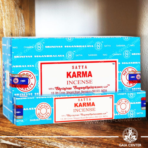 Incense Sticks pack 15g Karma by Satya at Gaia Center | Cyprus. Selection of natural Incense sticks and Incense holders. Cyprus delivery to: Limassol, Paphos, Nicosia, Larnaca, Paralimni, Strovolos. Including provinces and small suburbs. Europe and International Worldwide shipping.