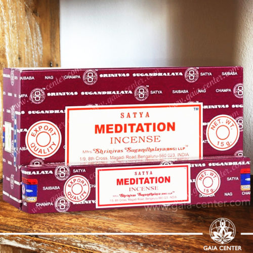 Incense Sticks pack 15g Meditation by Satya at Gaia Center | Cyprus. Selection of natural Incense sticks and Incense holders. Cyprus delivery to: Limassol, Paphos, Nicosia, Larnaca, Paralimni, Strovolos. Including provinces and small suburbs. Europe and International Worldwide shipping.