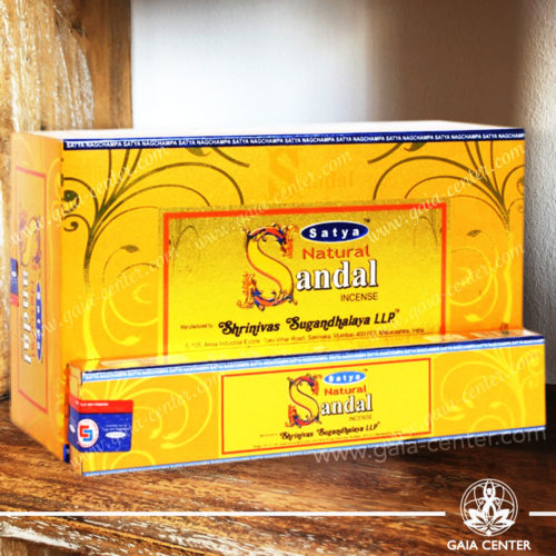 Incense Sticks pack 15g Natural Sandal by Satya at Gaia Center | Cyprus. Selection of natural Incense sticks and Incense holders. Cyprus delivery to: Limassol, Paphos, Nicosia, Larnaca, Paralimni, Strovolos. Including provinces and small suburbs. Europe and International Worldwide shipping.