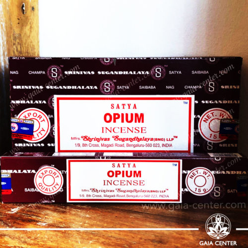 Incense Sticks pack 15g Opium by Satya at Gaia Center | Cyprus. Selection of natural Incense sticks and Incense holders. Cyprus delivery to: Limassol, Paphos, Nicosia, Larnaca, Paralimni, Strovolos. Including provinces and small suburbs. Europe and International Worldwide shipping.
