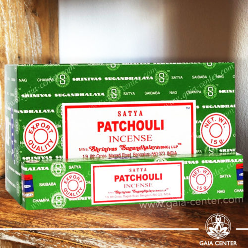 Incense Sticks pack 15g Patchouli by Satya at Gaia Center | Cyprus. Selection of natural Incense sticks and Incense holders. Cyprus delivery to: Limassol, Paphos, Nicosia, Larnaca, Paralimni, Strovolos. Including provinces and small suburbs. Europe and International Worldwide shipping.