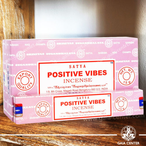Incense Sticks pack 15g Positive Vibes by Satya at Gaia Center | Cyprus. Selection of natural Incense sticks and Incense holders. Cyprus delivery to: Limassol, Paphos, Nicosia, Larnaca, Paralimni, Strovolos. Including provinces and small suburbs. Europe and International Worldwide shipping.