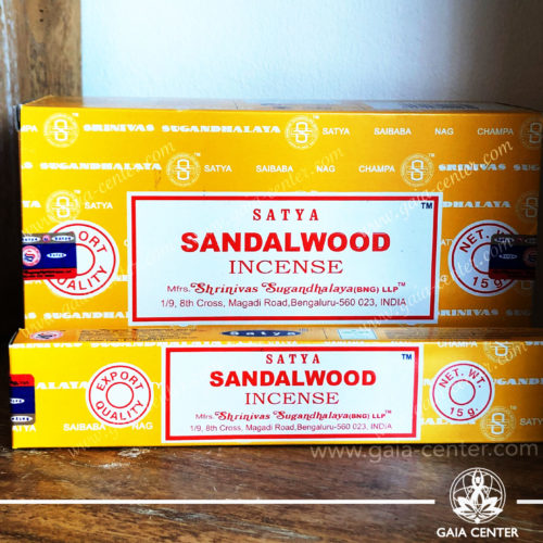 Incense Sticks pack 15g Sandalwood by Satya at Gaia Center | Cyprus. Selection of natural Incense sticks and Incense holders. Cyprus delivery to: Limassol, Paphos, Nicosia, Larnaca, Paralimni, Strovolos. Including provinces and small suburbs. Europe and International Worldwide shipping.