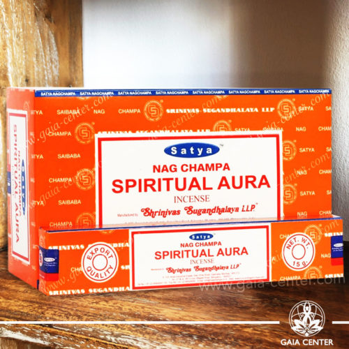Incense Sticks pack 15g Spiritual Aura by Nag Champa Satya at Gaia Center | Cyprus. Selection of natural Incense sticks and Incense holders. Cyprus delivery to: Limassol, Paphos, Nicosia, Larnaca, Paralimni, Strovolos. Including provinces and small suburbs. Europe and International Worldwide shipping.