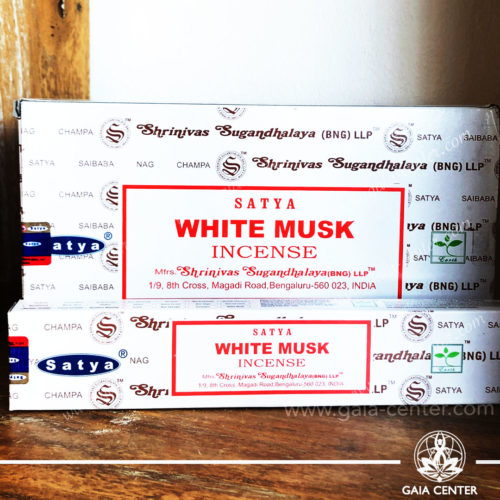 Incense Sticks pack 15g White Musk by Satya at Gaia Center | Cyprus. Selection of natural Incense sticks and Incense holders. Cyprus delivery to: Limassol, Paphos, Nicosia, Larnaca, Paralimni, Strovolos. Including provinces and small suburbs. Europe and International Worldwide shipping.