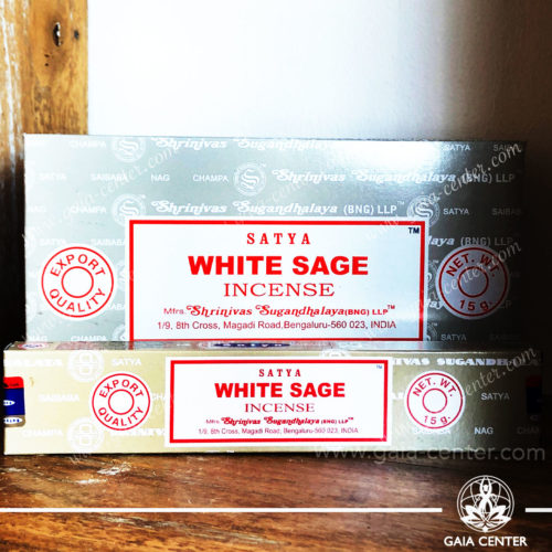 Incense Sticks pack 15g White Sage by Satya at Gaia Center | Cyprus. Selection of natural Incense sticks and Incense holders. Cyprus delivery to: Limassol, Paphos, Nicosia, Larnaca, Paralimni, Strovolos. Including provinces and small suburbs. Europe and International Worldwide shipping.
