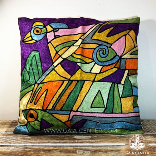 "Decorative Cushion Cover Abstract from soft Kashmiri Art Silk 18x18"". Great selection of artistic covers at Gaia Center in Cyprus. Cyprus delivery to: Limassol, Paphos, Nicosia, Larnaca, Paralimni, Strovolos. Including provinces and small suburbs. Europe and International Worldwide shipping. Wholesale and Retail. Shop online: https://gaia-center.com"