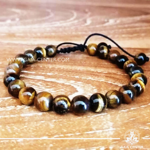 Tiger Eye Tibetan bracelet. Adjustable string. Selection of Tibetan Jewelry made from crystals, gemstones, combination of metals at Gaia Center   Cyprus.