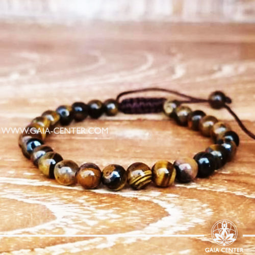 Tiger Eye Tibetan bracelet. Adjustable string. Selection of Tibetan Jewelry made from crystals, gemstones, combination of metals at Gaia Center | Cyprus.