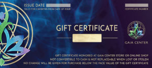 Gift Certificate or Gift Voucher to purchase products and services by Gaia Center. Shop online or visit our store in Cyprus.