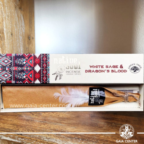 Incense Sticks White Sage & Dragon's Blood aroma Native Soul series by Green Tree at Gaia Center | Cyprus.