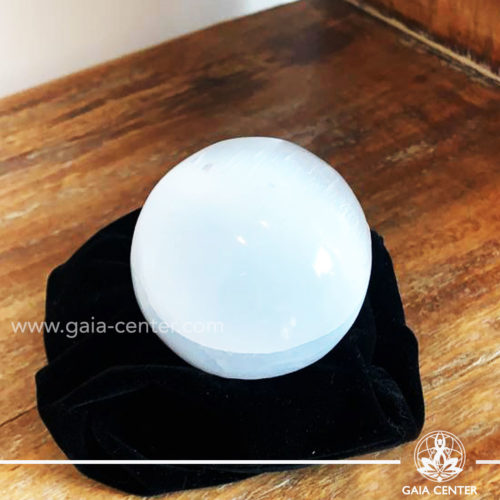 Selenite crystal sphere ball at Gaia Center| Cyprus.
