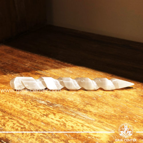 Selenite crystal pointed spiral healing wand at Gaia Center  Cyprus.
