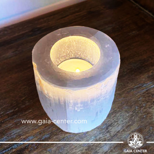 Selenite crystal round candle holder tea light holder at Gaia Center| Cyprus.